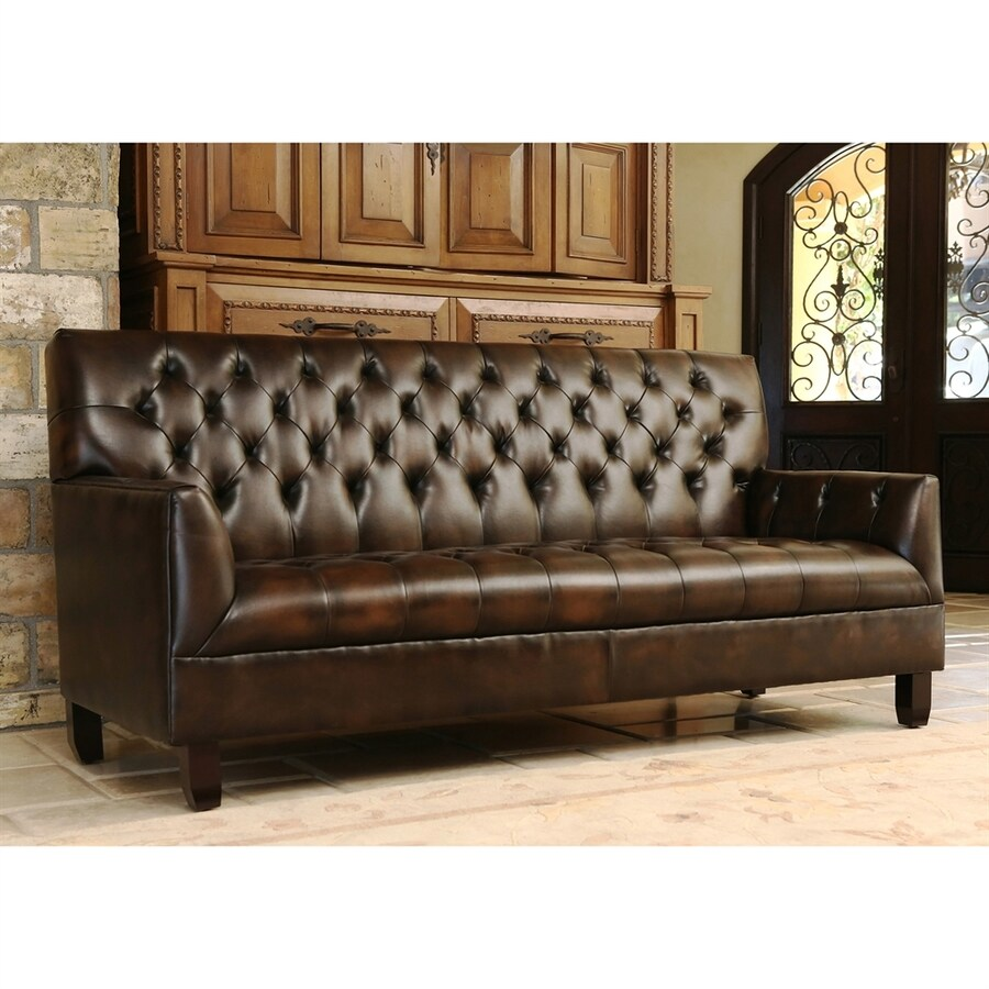 Pacific Loft Revello Midcentury Brown Genuine Leather Settee