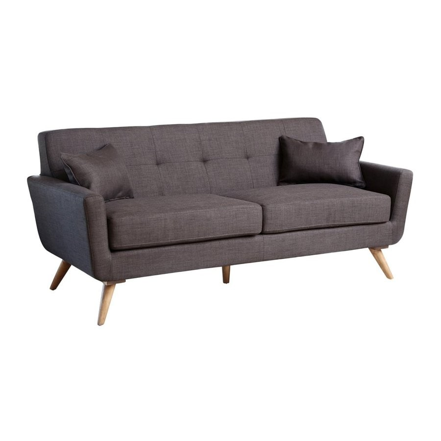 Pacific Loft Bayview Midcentury Grey Genuine Leather Sofa