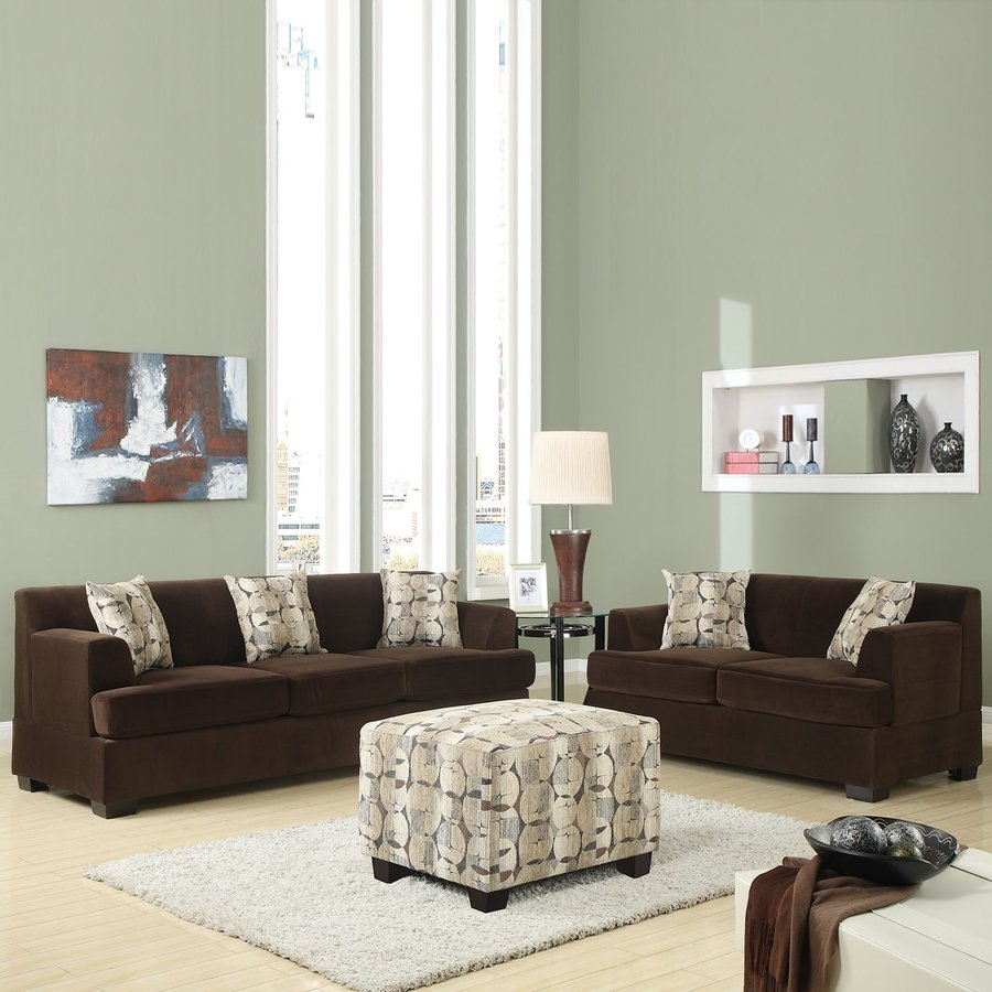 Shop Poundex 2-Piece Banford Chocolate Living Room Set at Lowes.com