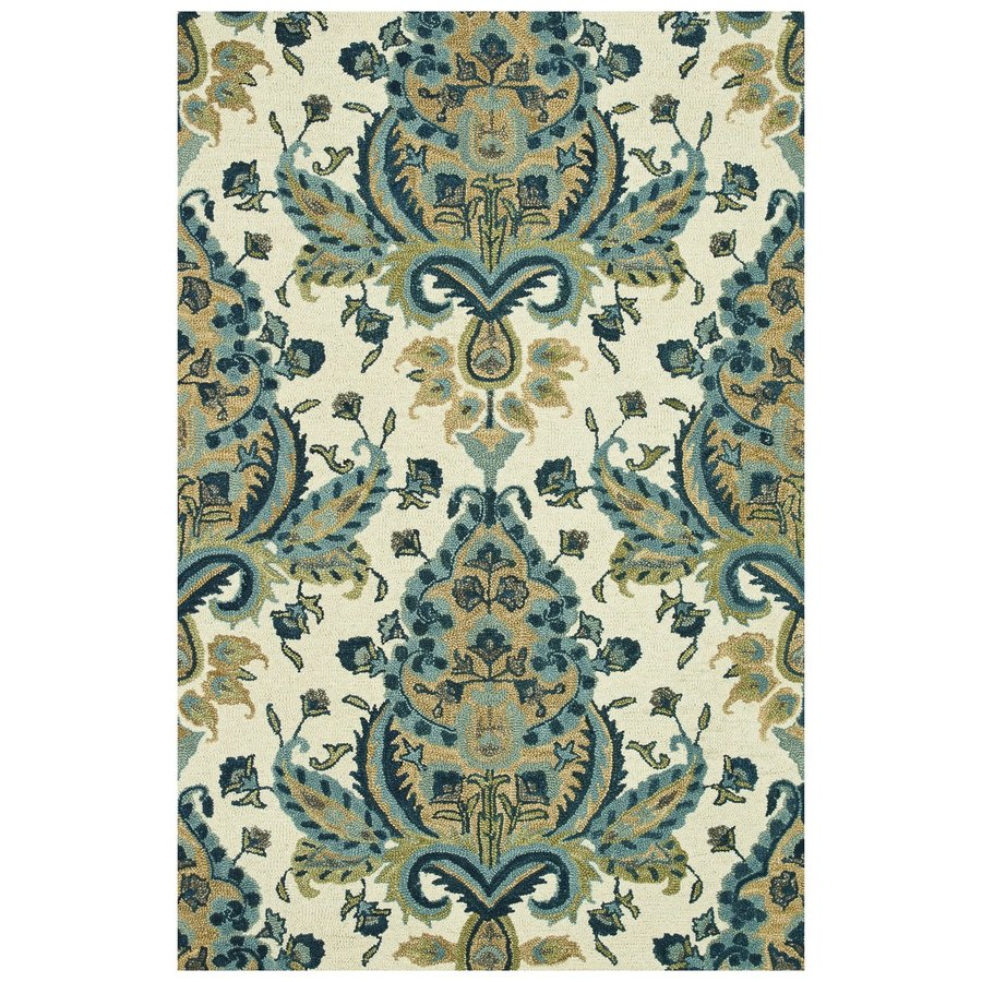 Loloi Taylor Blue/gold Rectangular Indoor Handcrafted Distressed Area Rug (Common: 4 X 6; Actual: 3.5-ft W x 5.5-ft L)