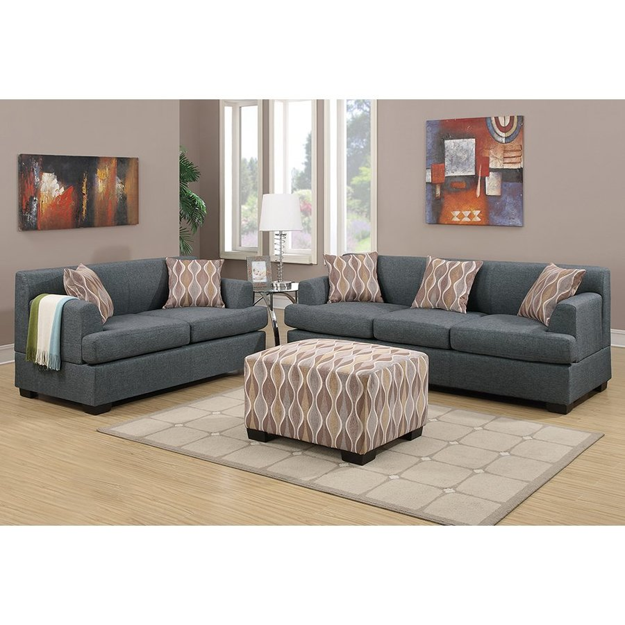 Poundex 2-Piece Bobkona Baldwin Blue Grey Living Room Set