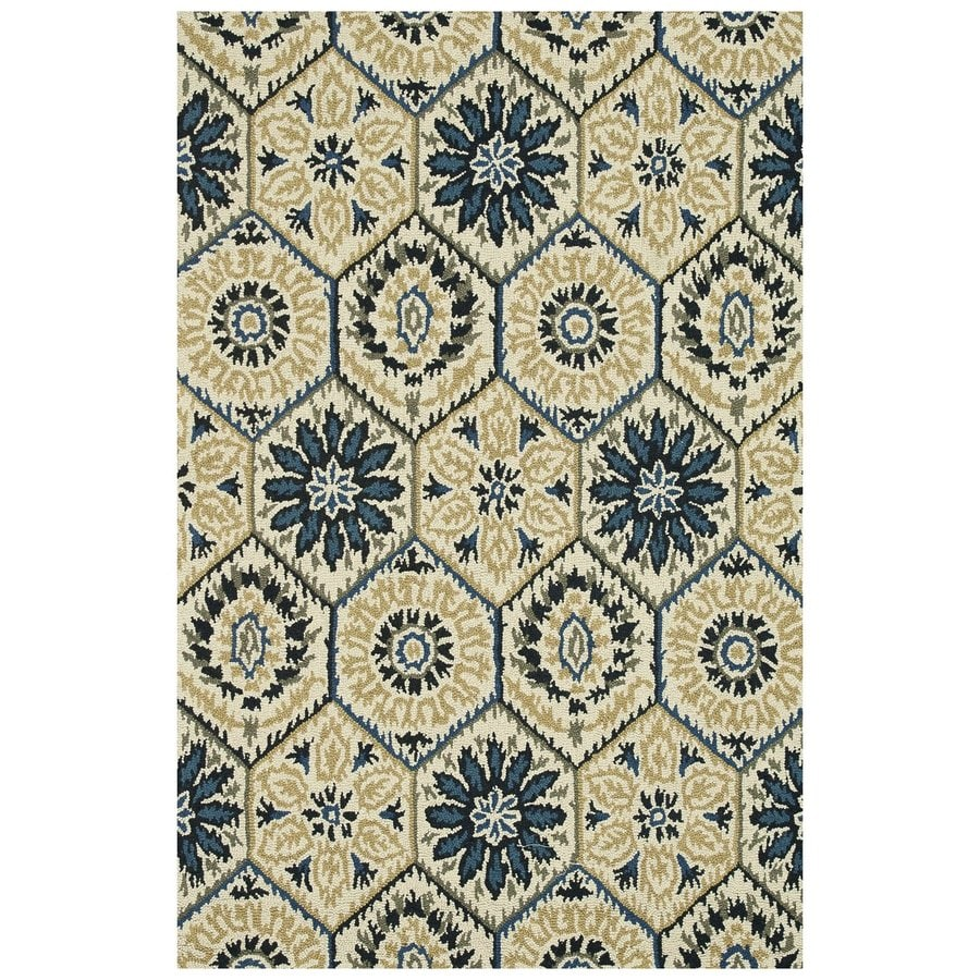 Loloi Taylor Navy/ivory Rectangular Indoor Handcrafted Distressed Area Rug (Common: 5 X 8; Actual: 5-ft W x 7.5-ft L)