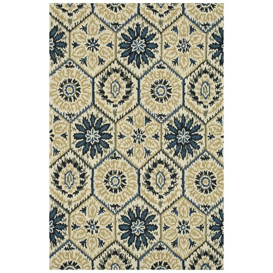 Loloi Taylor Navy/ivory Rectangular Indoor Handcrafted Distressed Area Rug (Common: 9 X 13; Actual: 9.25-ft W x 13-ft L)