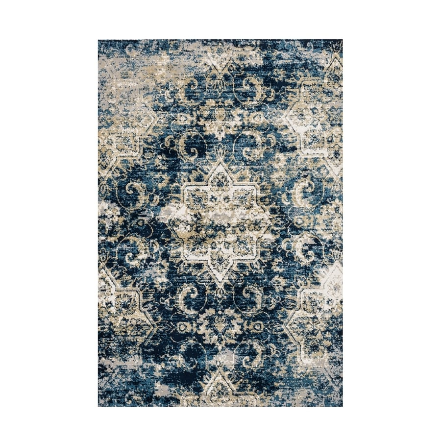 Loloi Torrance Navy/ivory Rectangular Indoor Machine-made Distressed Area Rug (Common: 4 X 6; Actual: 3.75-ft W x 5.75-ft L)