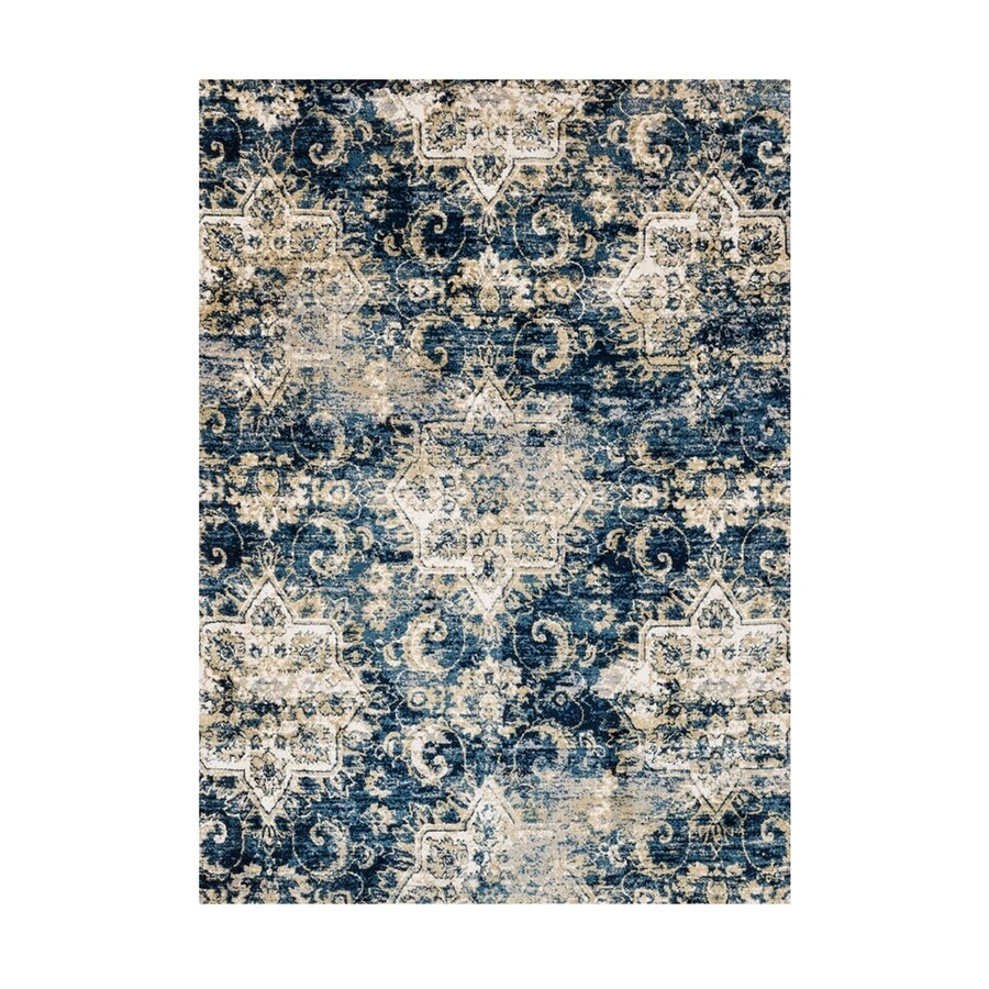 Loloi torrance navy ivory indoor distressed area rug common 7 x 9 actual 6 58 ft w x 9 16 ft l