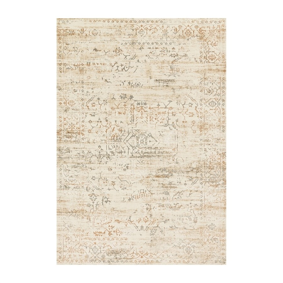 Loloi Kingston Cream Rectangular Indoor Machine-made Distressed Area Rug (Common: 4 X 5; Actual: 3.83-ft W x 5.58-ft L)