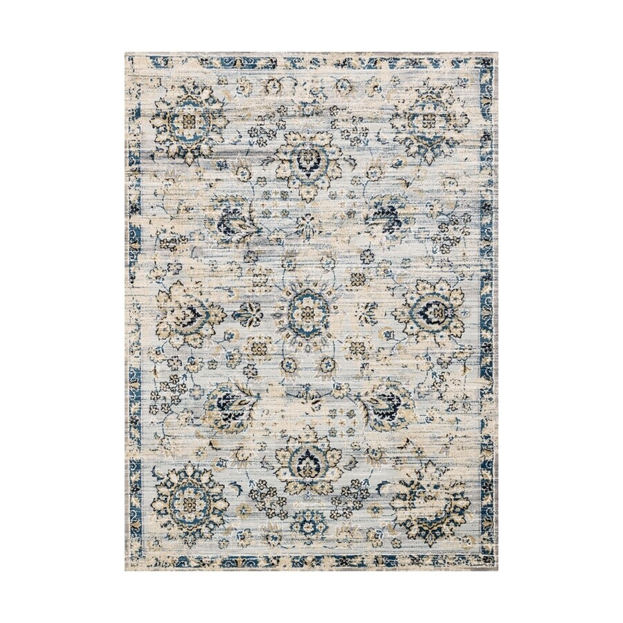 Loloi Torrance Navy/grey Rectangular Indoor Machine-made Distressed Area Rug (Common: 7 X 9; Actual: 6.58-ft W x 9.16-ft L)