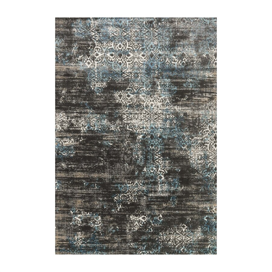 Loloi Kingston Charcoal/blue Rectangular Indoor Machine-made Distressed Runner (Common: 2 X 12; Actual: 2.58-ft W x 12-ft L)