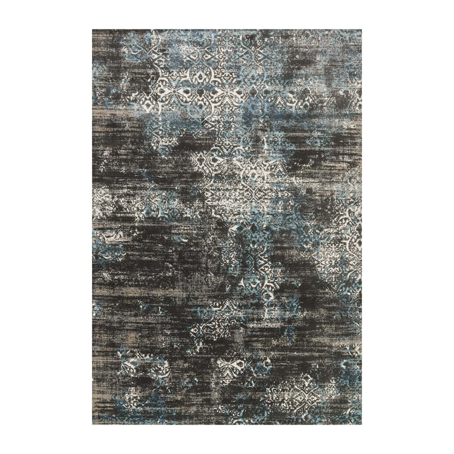 Loloi Kingston Charcoal/blue Rectangular Indoor Machine-made Distressed Area Rug (Common: 4 X 5; Actual: 3.83-ft W x 5.58-ft L)