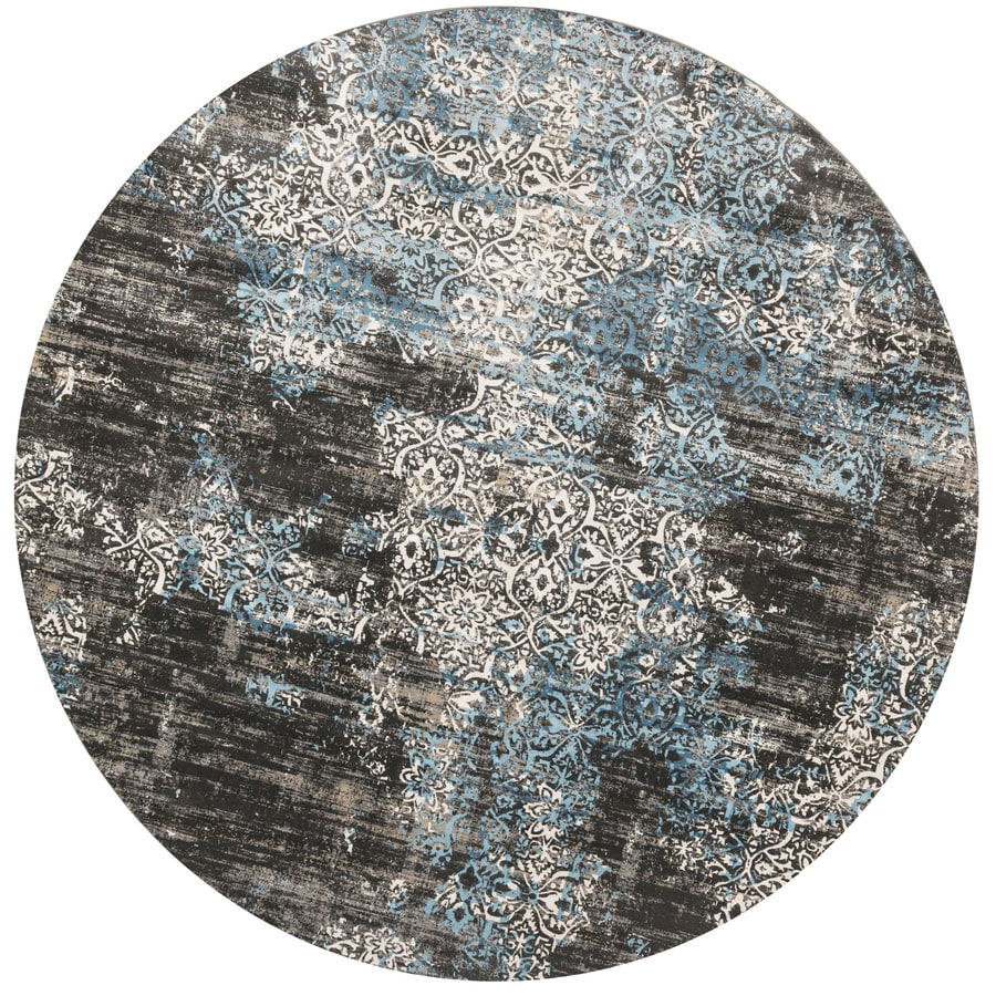 Loloi Kingston Charcoal/blue Round Indoor Machine-made Distressed Area Rug (Common:; Actual: W x L x 9.25-ft dia)