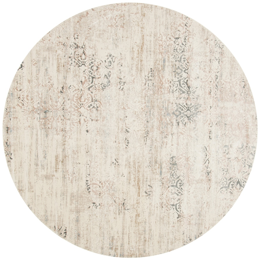 Loloi Kingston Ivory/stone Round Indoor Machine-made Distressed Area Rug (Common:; Actual: W x L x 9.25-ft dia)