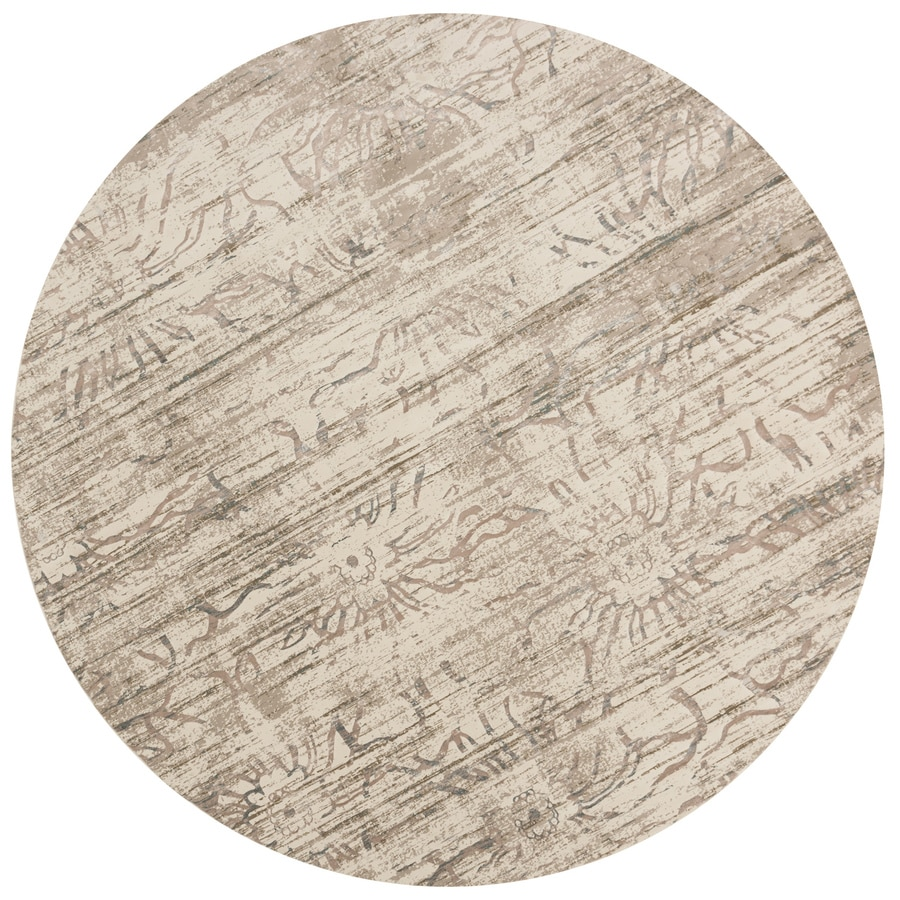 Loloi Kingston Neutral Round Indoor Machine-made Distressed Area Rug (Common:; Actual: W x L x 7.83-ft dia)