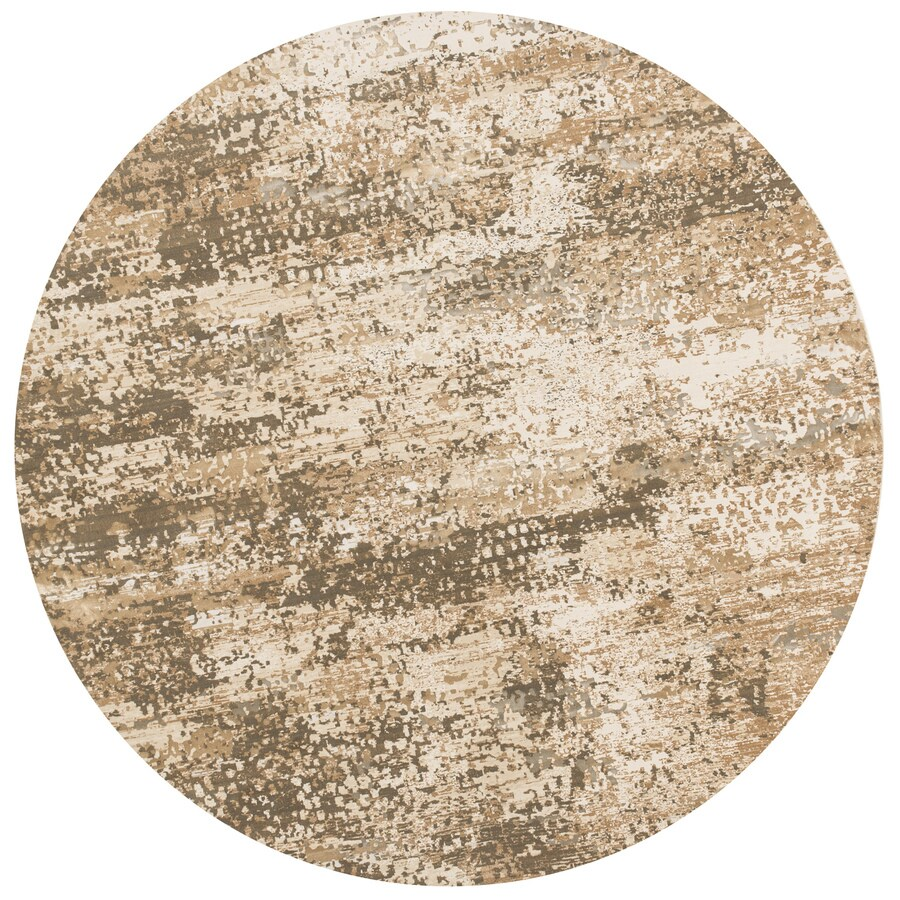 Loloi Kingston Ivory/camel Round Indoor Machine-made Distressed Area Rug (Common:; Actual: W x L x 7.83-ft dia)