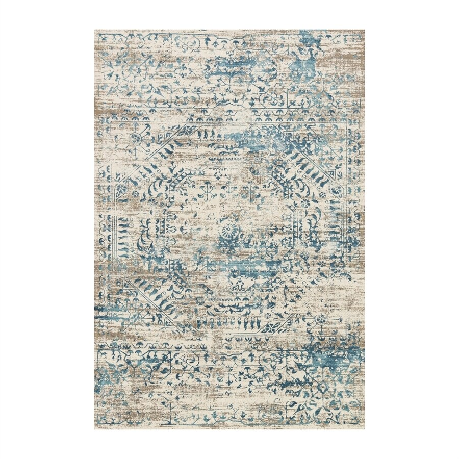 Loloi Kingston Ivory/blue Rectangular Indoor Machine-made Distressed Area Rug (Common: 5 X 7; Actual: 5.25-ft W x 7.5-ft L)