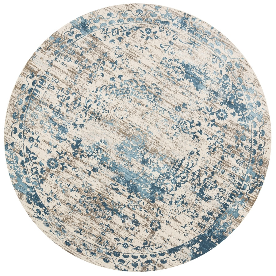 Loloi Kingston Ivory/blue Round Indoor Machine-made Distressed Area Rug (Common:; Actual: W x L x 7.83-ft dia)