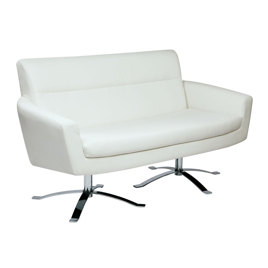 Office Star Ave Six Nova Modern White Faux Leather Loveseat