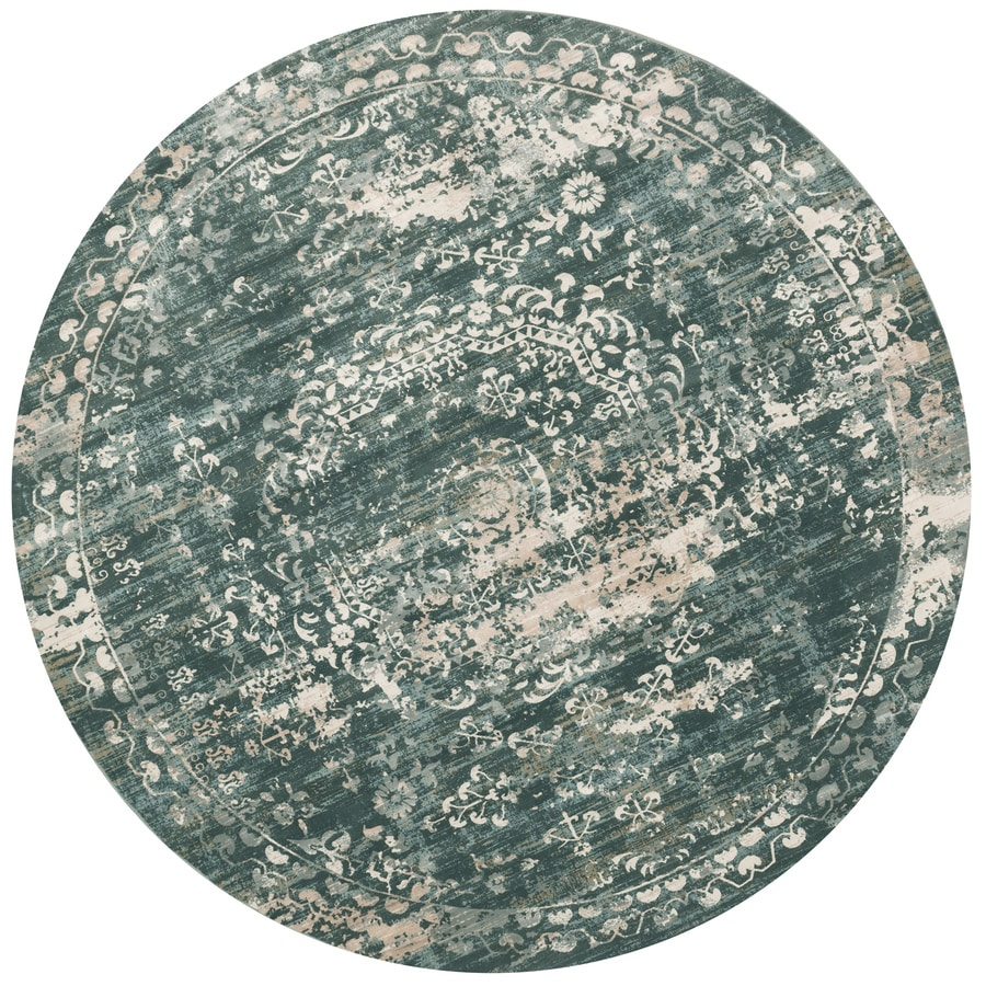 Loloi Kingston Storm Round Indoor Machine-made Distressed Area Rug (Common:; Actual: W x L x 9.25-ft dia)