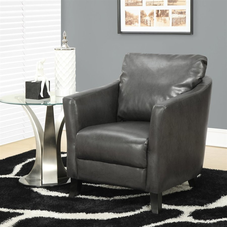 Monarch Specialties Casual Charcoal Gray Faux Leather Club Chair