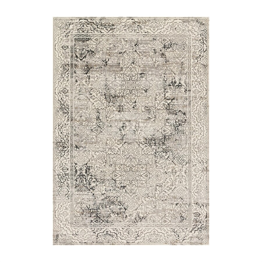 Loloi Kingston Ivory/grey Rectangular Indoor Machine-made Distressed Area Rug (Common: 2 X 4; Actual: 2.58-ft W x 3.75-ft L)