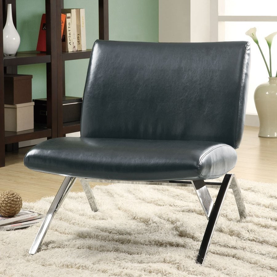 Monarch specialties modern black faux leather accent chair
