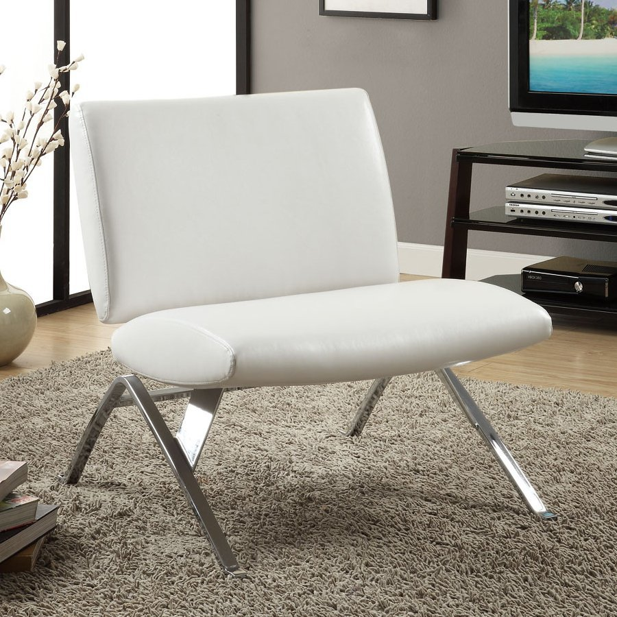 Monarch Specialties Modern White Faux Leather Accent Chair