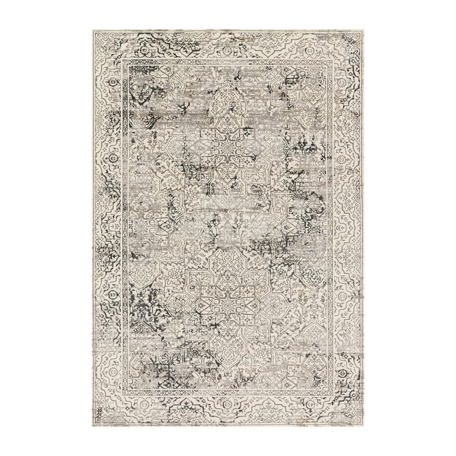 Loloi Kingston Ivory/grey Rectangular Indoor Machine-made Distressed Area Rug (Common: 6 X 9; Actual: 6.58-ft W x 9.16-ft L)