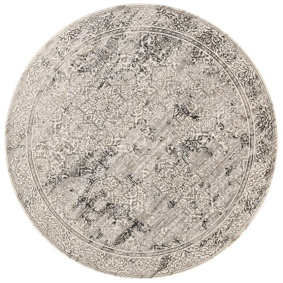 Loloi Kingston Ivory/grey Round Indoor Machine-made Distressed Area Rug (Common:; Actual: W x L x 7.83-ft dia)