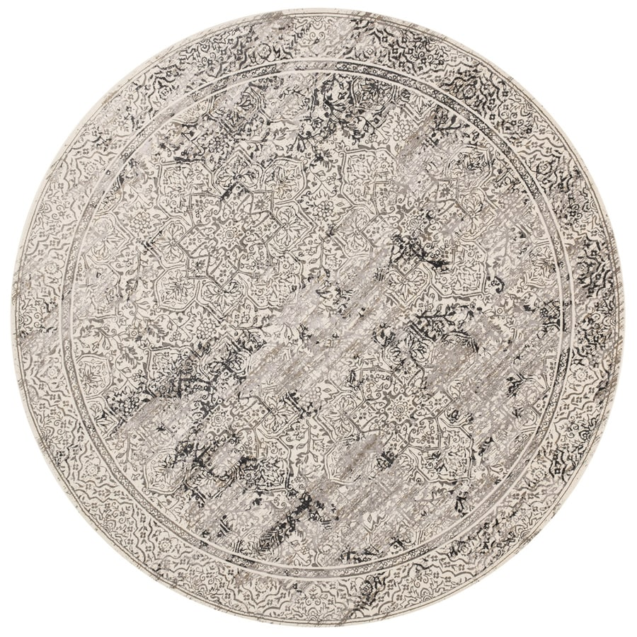 Loloi Kingston Ivory/grey Round Indoor Machine-made Distressed Area Rug (Common:; Actual: W x L x 9.25-ft dia)