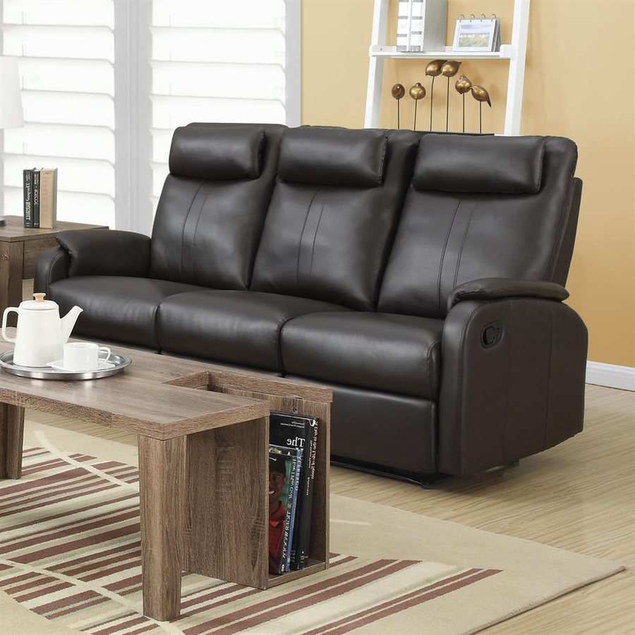 Monarch Specialties Casual Brown Faux Leather Reclining Sofa