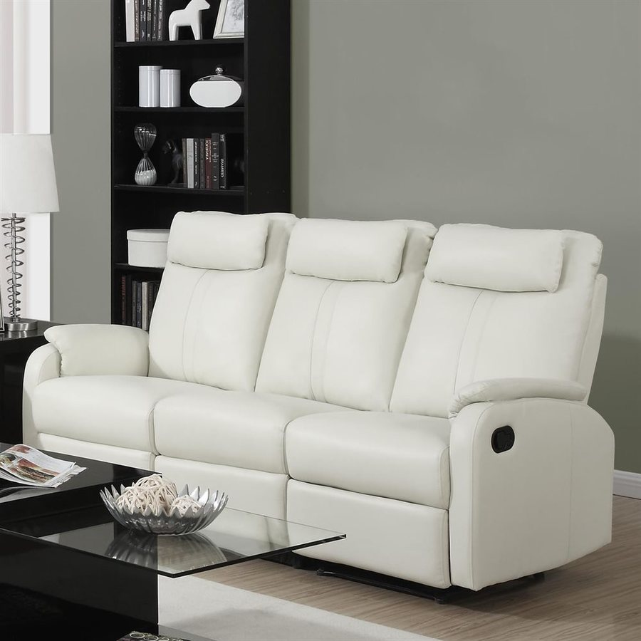 Monarch Specialties Casual Cream Faux Leather Reclining Sofa