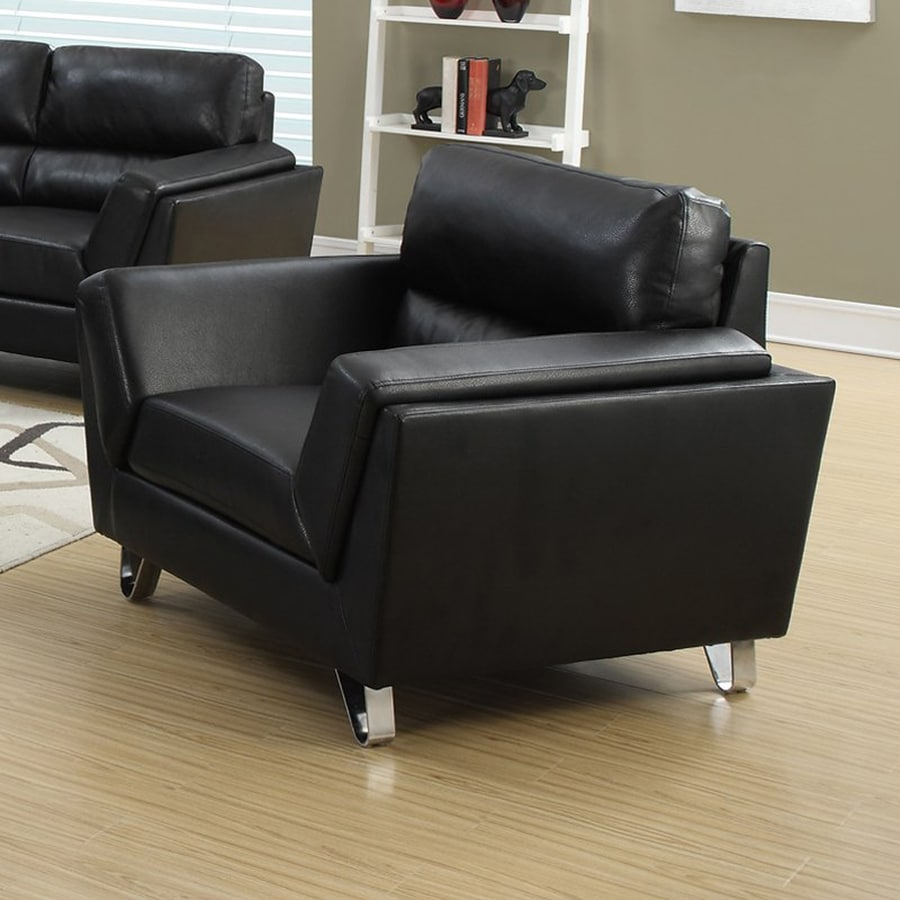 Monarch Specialties Modern Black Faux Leather Club Chair