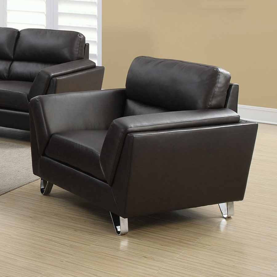 Monarch Specialties Modern Dark Brown Faux Leather Club Chair
