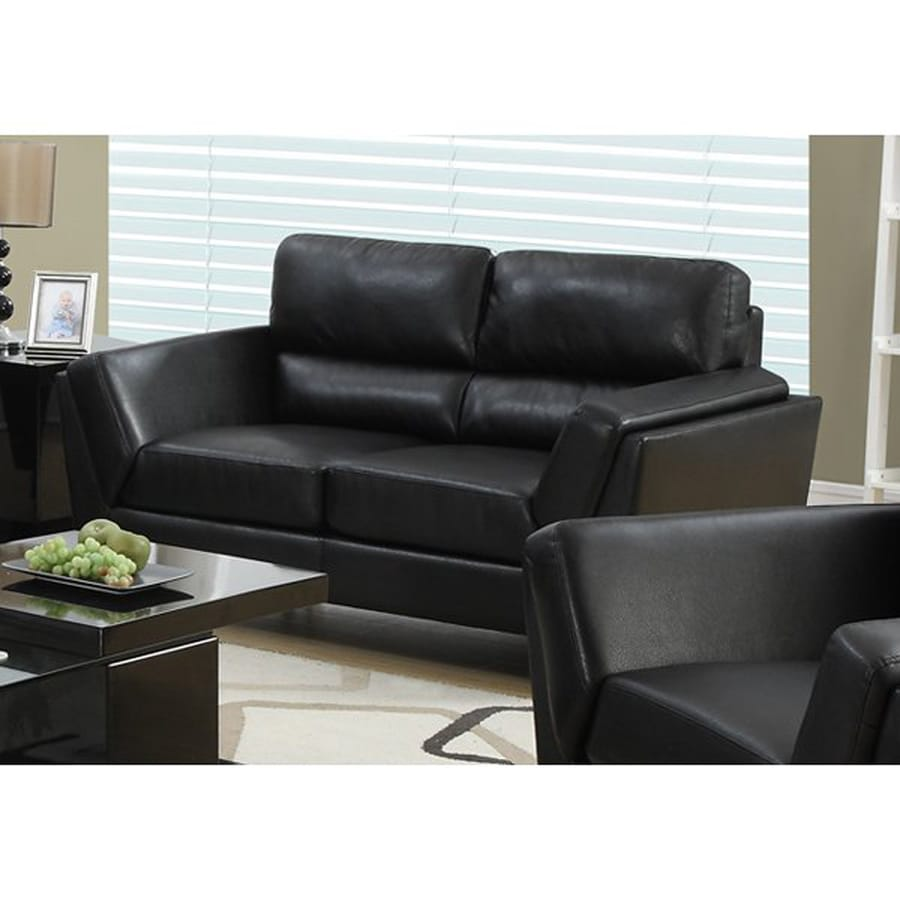 Monarch Specialties Casual Black Faux Leather Loveseat