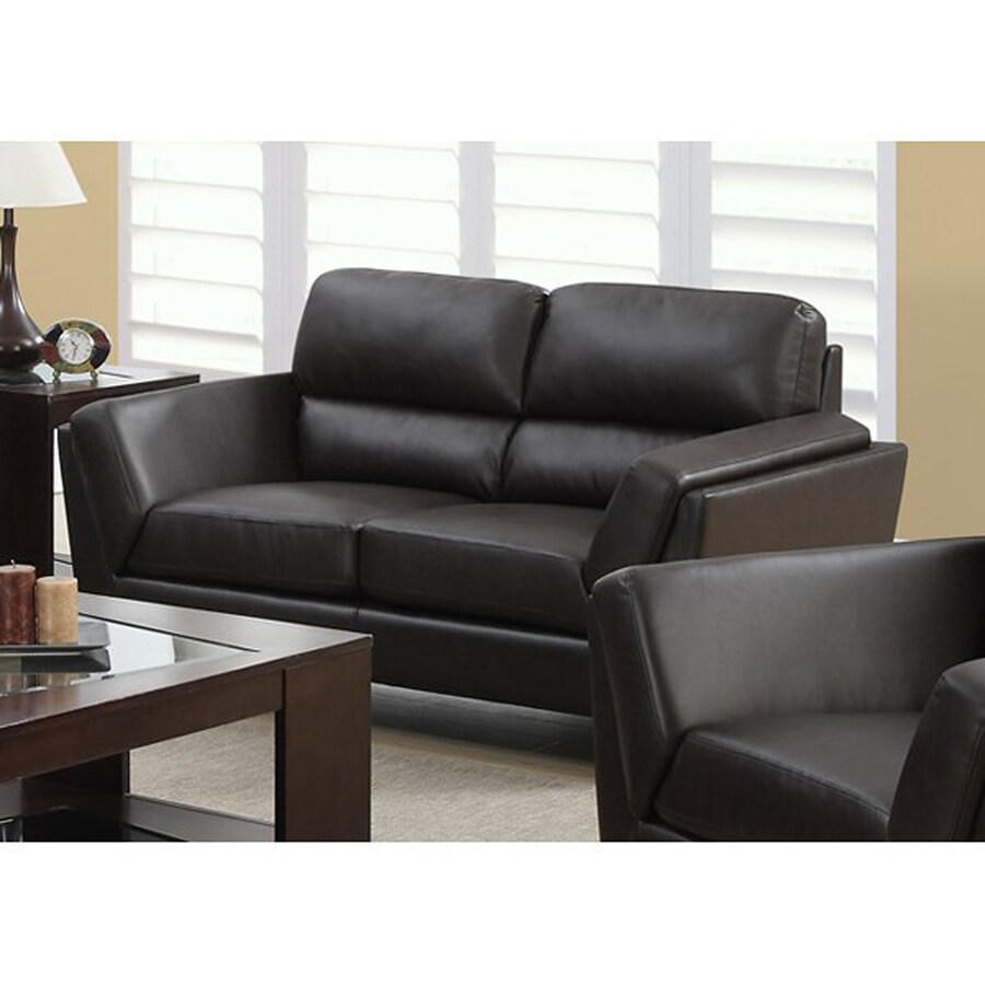 Monarch Specialties Casual Dark Brown Faux Leather Loveseat