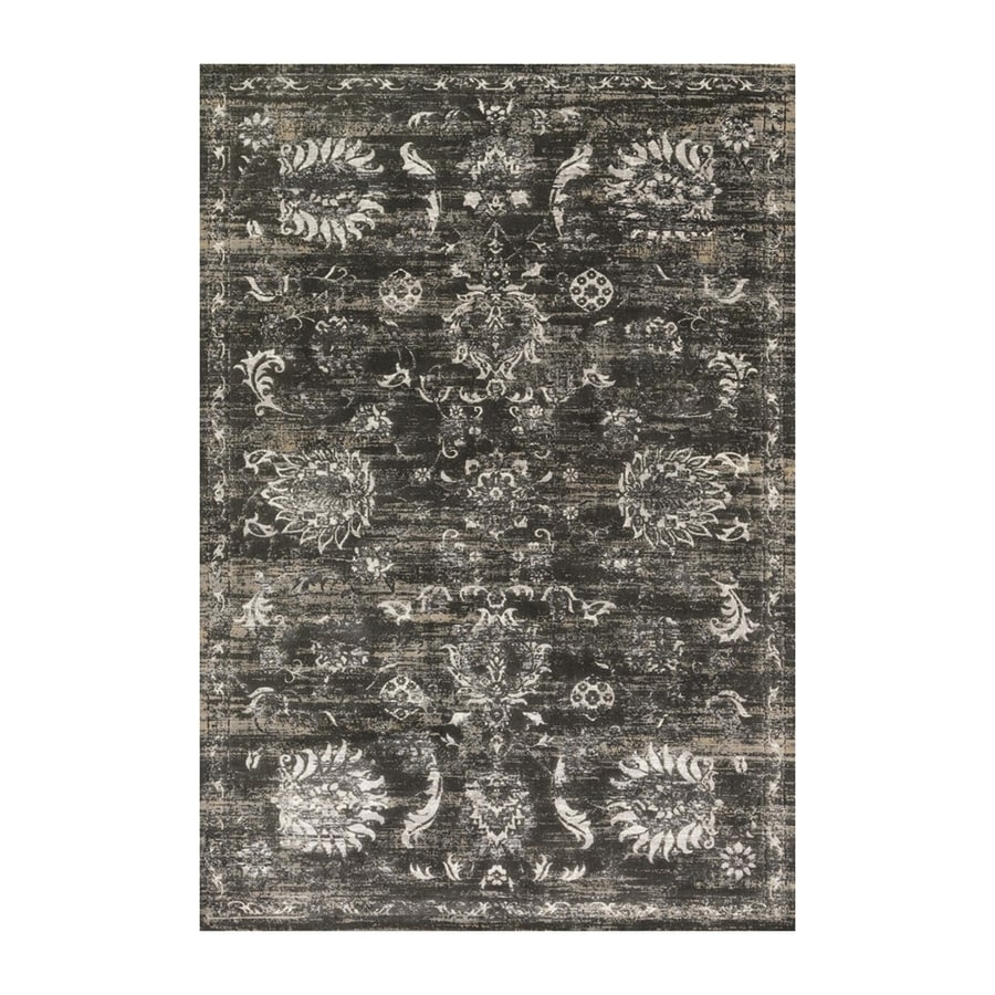 Loloi Kingston Charcoal/silver Rectangular Indoor Machine-made Distressed Area Rug (Common: 4 X 5; Actual: 3.83-ft W x 5.58-ft L)