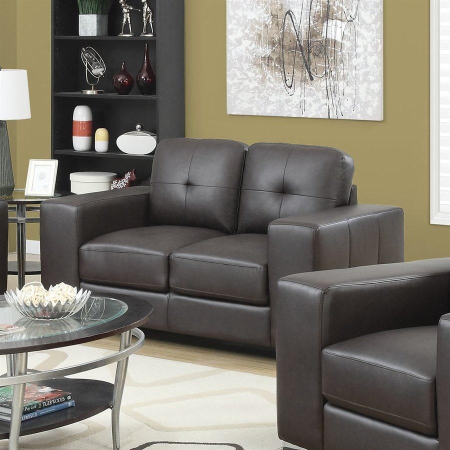 Monarch Specialties Modern Dark Brown Faux Leather Loveseat