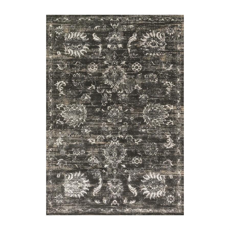 Loloi Kingston Charcoal/silver Rectangular Indoor Machine-made Distressed Area Rug (Common: 6 X 9; Actual: 6.58-ft W x 9.16-ft L)
