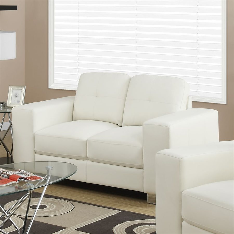 Monarch Specialties Modern Ivory/Cream Faux Leather Loveseat