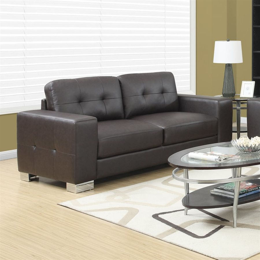 Monarch Specialties Modern Dark Brown Faux Leather Sofa