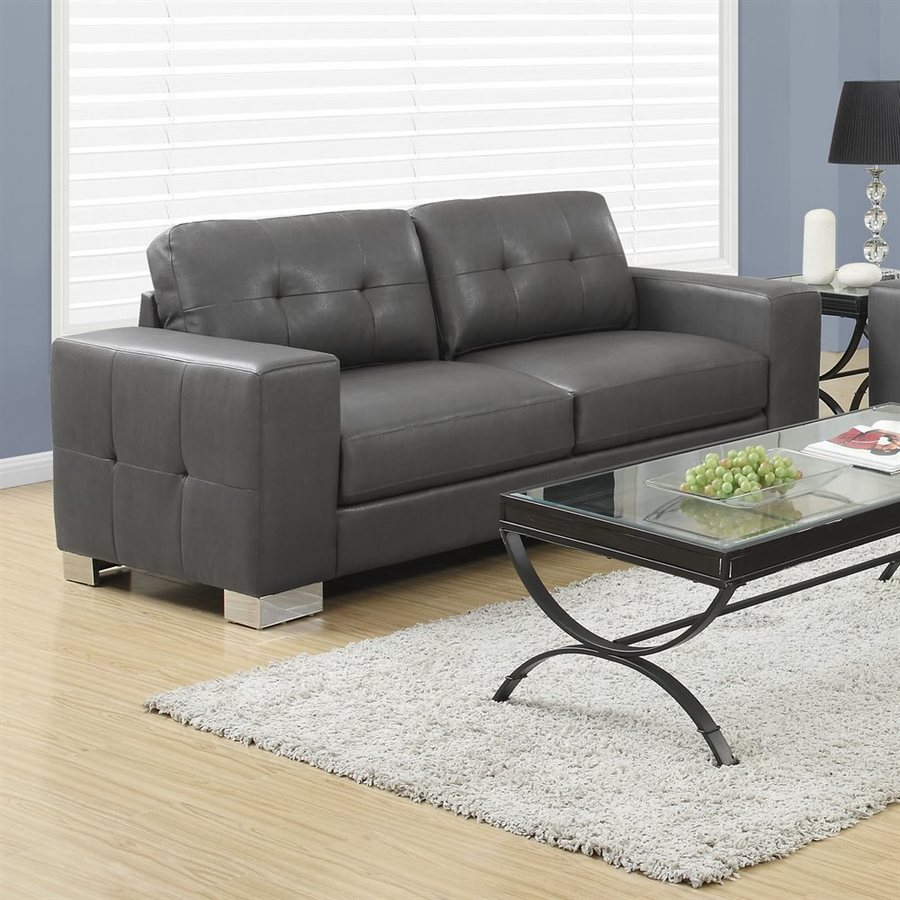 shop monarch specialties modern charcoal grey faux leather sofa at. Black Bedroom Furniture Sets. Home Design Ideas