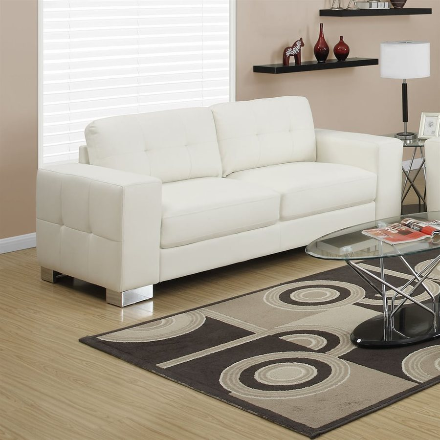 Monarch Specialties Modern Ivory/Cream Faux Leather Sofa