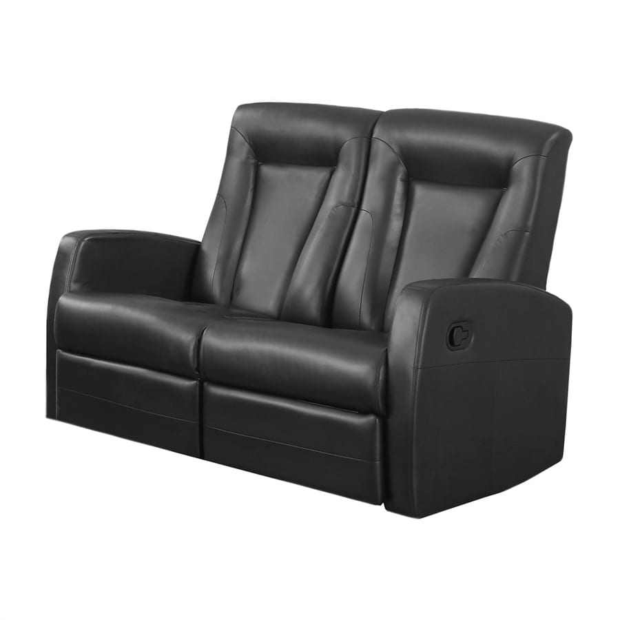 Monarch Specialties Modern Black Faux Leather Reclining