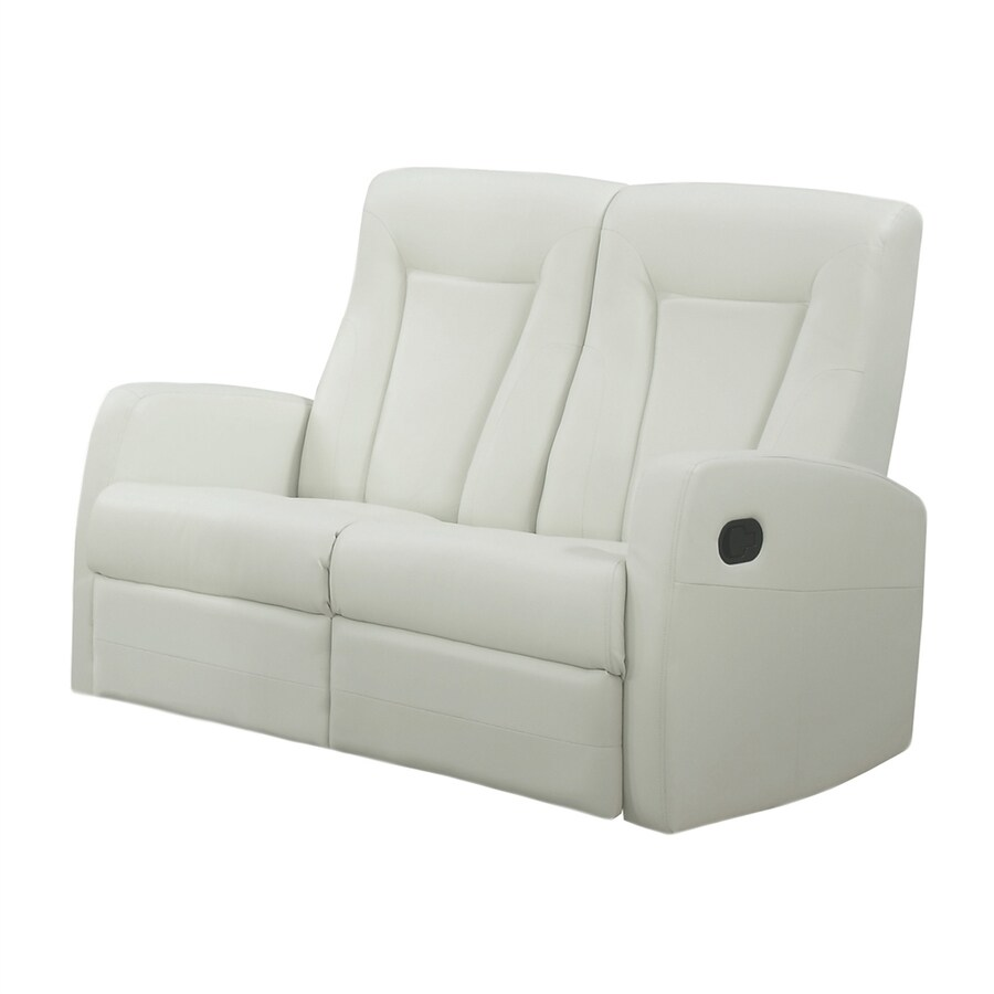 Monarch Specialties Modern Ivory Faux Leather Reclining Loveseat