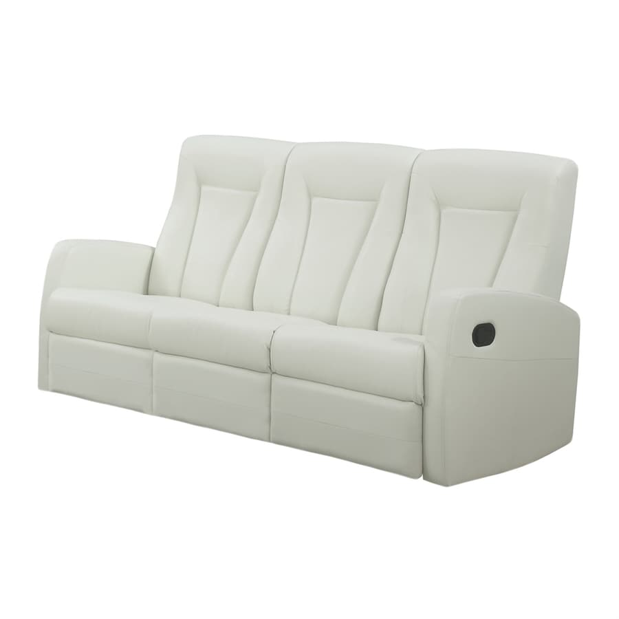 Monarch Specialties Modern Ivory Faux Leather Reclining Sofa