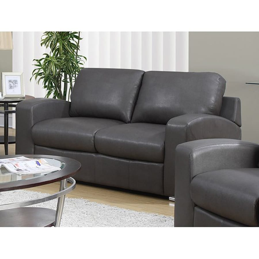 Monarch Specialties Modern Charcoal Grey Faux Leather Loveseat