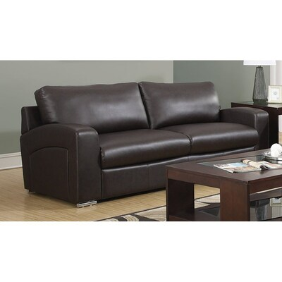Monarch Specialties Casual Dark Brown Faux Leather Sofa at ...