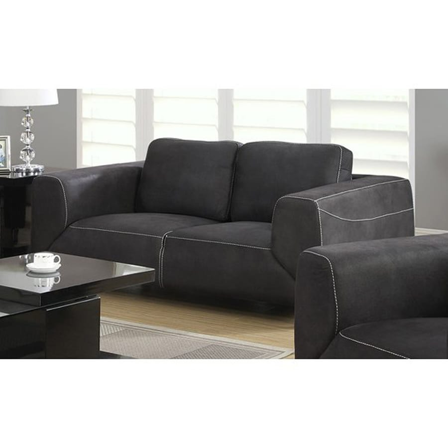 Monarch Specialties Modern Charcoal Grey Loveseat