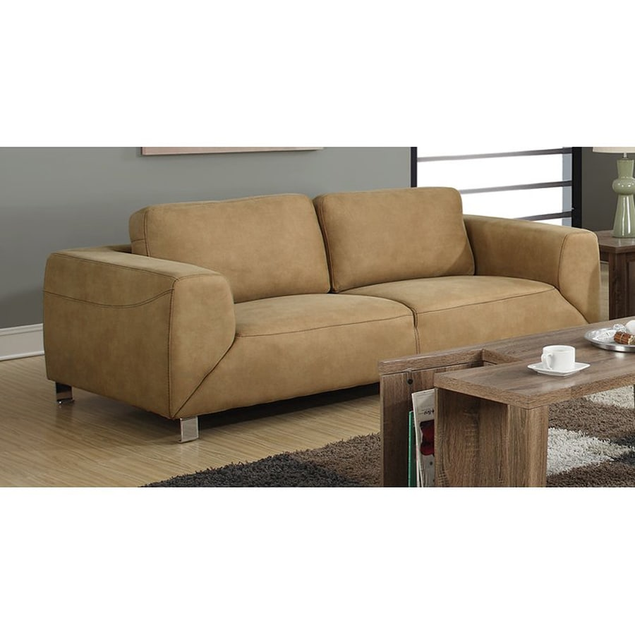 Monarch Specialties Modern Tan Microfiber Sofa at Lowes.com