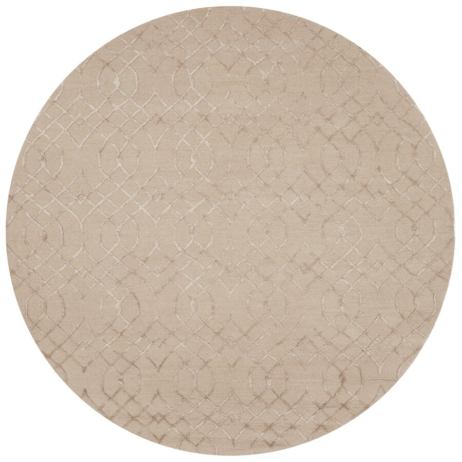 Loloi Panache Taupe Round Indoor Handcrafted Distressed Area Rug (Common:; Actual: W x L x 7.5-ft dia)