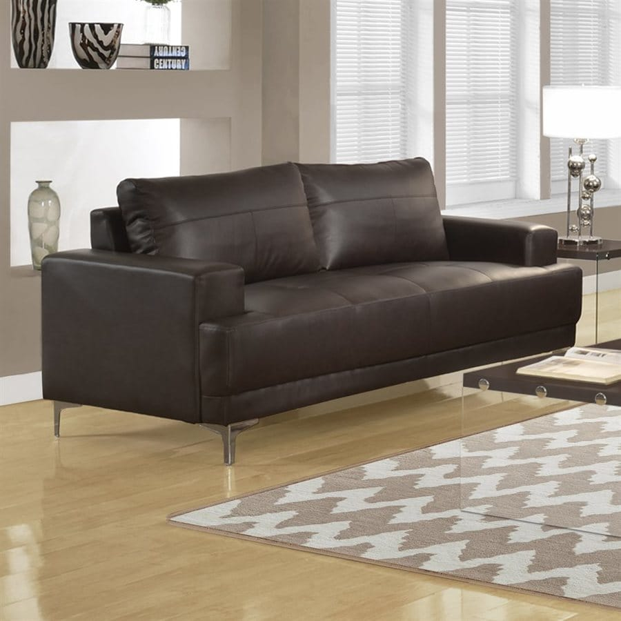 Monarch Specialties Modern Brown Faux Leather Sofa